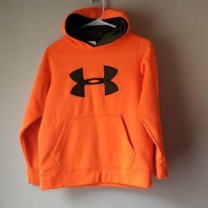 Neon Orange under armor hoodie with camp green